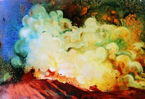 "Quinacridone Red Sky Acrylic on Terraskin 19"" x 28"""