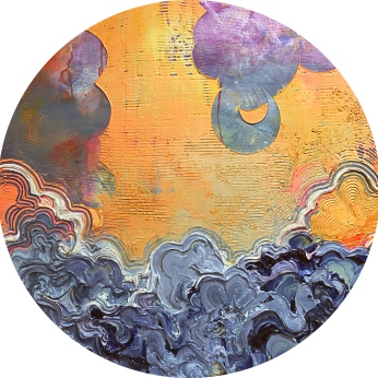 """Halo Effect acrylic and stone on canvas 36"""" Diameter - SOLD"""
