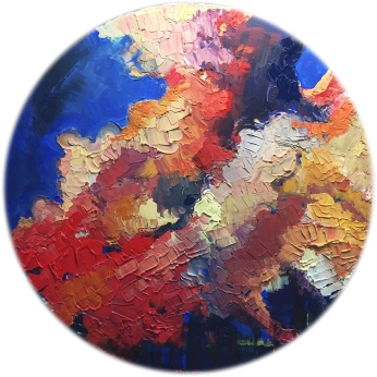 "Skies of Kites Acrylic and Stone on Canvas 40"" Diameter - SOLD"