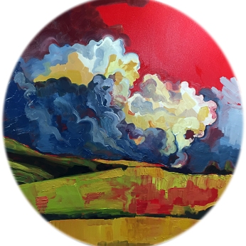 "The World's Greatest Acrylic on Canvas 40"" Diameter SOLD"