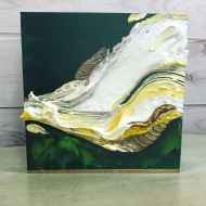 "Found Object Study in Green - Acrylic and Wood on Birch Panel 10"" x 10"" 250.00 (Currently at Crescent Hill)"