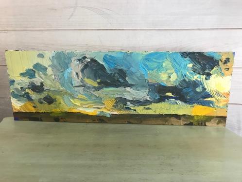 "Prairie Drift - Acrylic on Birch Panel 12"" x 36"" 800.00"