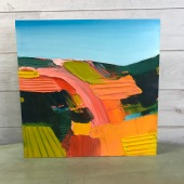"Layered Crops - Acrylic on Birch Panel 20"" x 20"" 750.00"