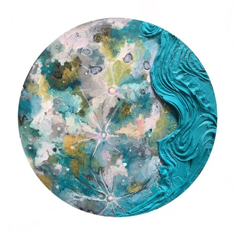 "Lunar Pattern in Cobalt Teal - Acrylic on Birch Panel 14"" diameter SOLD"