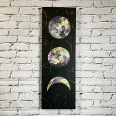"Lunar Trio - Acrylic on birch panel 12"" x 36"" 650.00"